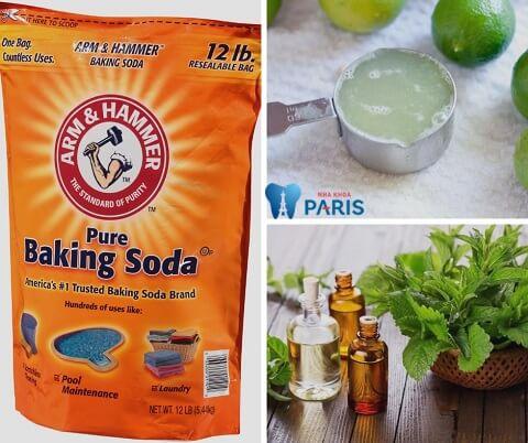 Lấy cao răng bằng cách kết hợp baking soda - chanh và dầu bạc hà